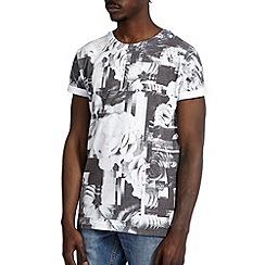 Burton - Mono floral grid printed t-shirt