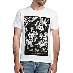 Burton - White floral square printed t-shirt