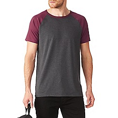 Burton - Burgundy and charcoal raglan t-shirt