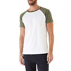 Burton - Khaki and white raglan t-shirt