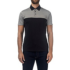 Burton - Grey feeder stripe cut and sew polo shirt