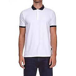 Burton - White popper stretch polo shirt