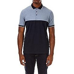 Burton - Navy blue cut and sew stretch polo shirt