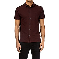 Burton - Burgundy short sleeve pique shirt