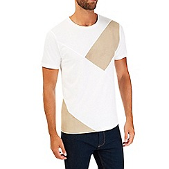 Burton - White suede panel t-shirt