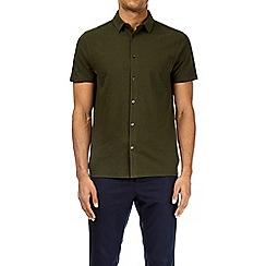 Burton - Forest green short sleeve pique shirt