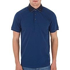 Burton - Blue print double collar polo shirt