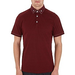 Burton - Red print double collar polo shirt