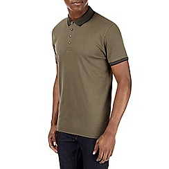 Burton - Khaki popper polo shirt