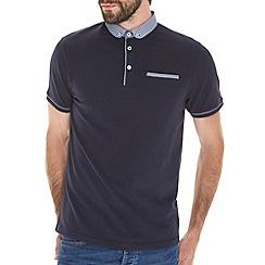 Burton - Navy penny pique polo shirt