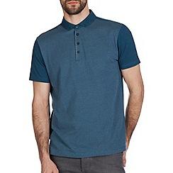 Burton - Teal jacquard polo shirt