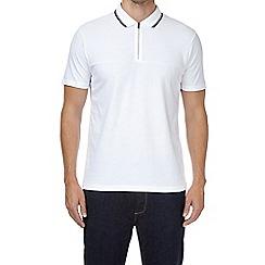Burton - White zip neck polo shirt