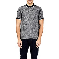 Burton - Charcoal zip neck stretch polo shirt