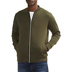 Burton - Khaki green jersey bomber jacket
