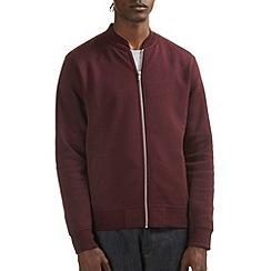 Burton - Burgundy jersey bomber jacket