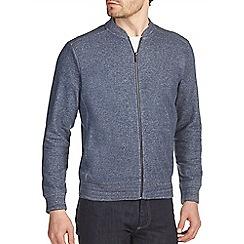 Burton - Navy textured jersey bomber jacket