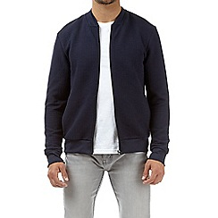 Burton - Navy quilted jersey bomber jacket