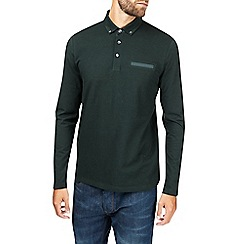 Burton - Green long sleeve honeycomb polo shirt