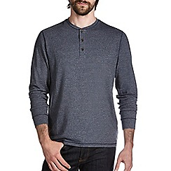 Burton - Denim blue textured long sleeve t-shirt