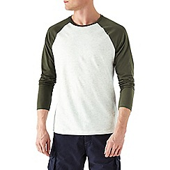 Burton - Khaki textured raglan long sleeve t-shirt