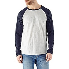 Burton - Navy textured raglan long sleeve tee