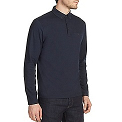 Burton - Navy long sleeved polo shirt