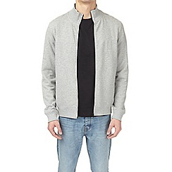 Burton - Grey marl zip-through funnel neck sweatshirt