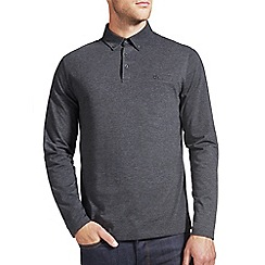 Burton - Charcoal grey long sleeved polo shirt