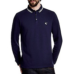 Burton - Navy pique tipped long sleeve polo shirt