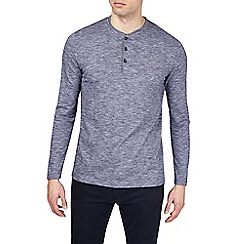 Burton - Blue textured long sleeve grandad t-shirt