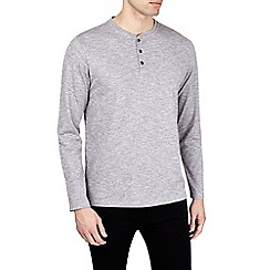 Burton - Grey textured long sleeve grandad t-shirt