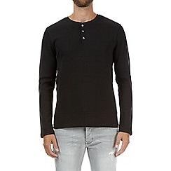 Burton - Black waffle grandad collar t-shirt