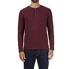 Burton - Burgundy waffle grandad neck t-shirt