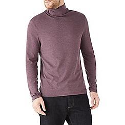 Burton - Burgundy jersey roll neck top