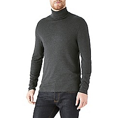 Burton - Charcoal jersey roll neck top