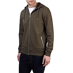 Burton - Khaki zip through hoodie