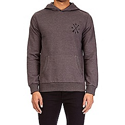 Burton - Charcoal compass chest embroidered over-head hoodie