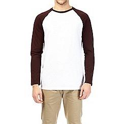 Burton - Burgundy and frost grey long sleeve longline raglan t-shirt