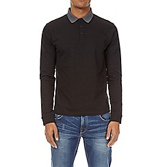 Burton - Black long sleeve jacquard collar polo shirt