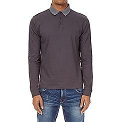Burton - Charcoal long sleeve jacquard collar polo shirt
