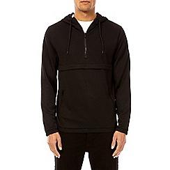 Burton - Black quarter zip long sleeve panelled hoodie