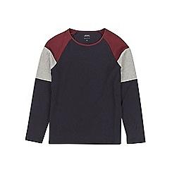 Burton - Navy, burgundy and grey block raglan t-shirt
