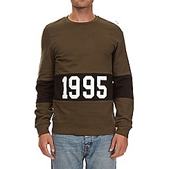 Burton - Khaki cut and sew 1995 printed sweatshirt