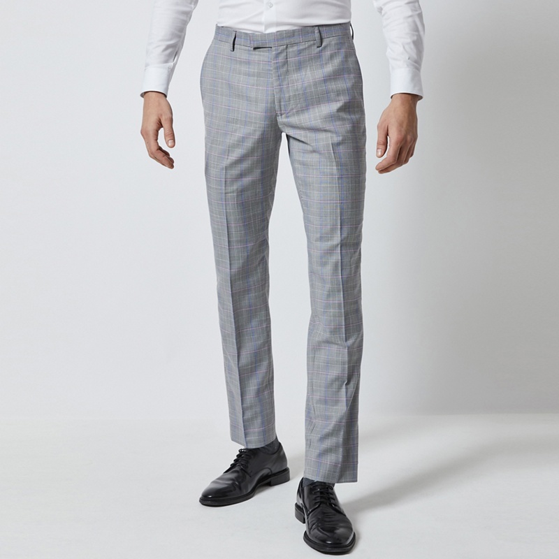 89d12cf9c81be Burton - 1904 Neeson Grey Skinny Fit Check Suit Trousers