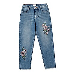 Outfit Kids - Girls' blue slouchy fit floral embroidered jeans