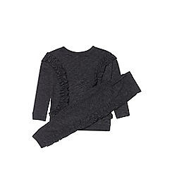 Outfit Kids - Girls' black ruffle tracksuit