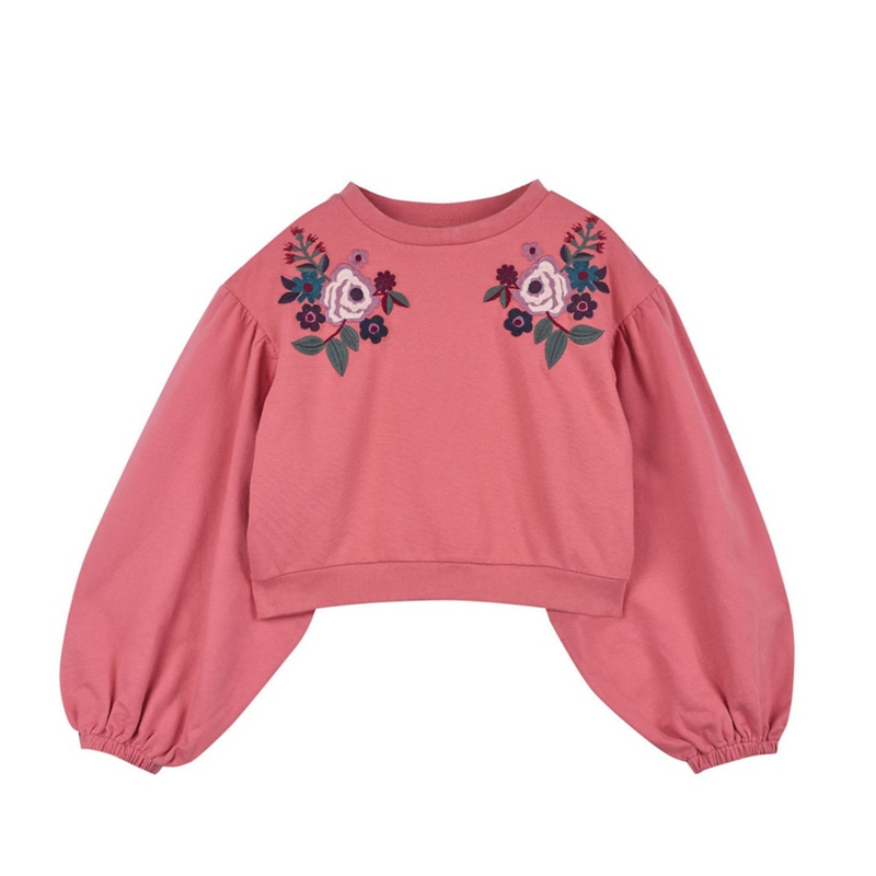 OUTFIT KIDS   Outfit Kids - Girls' Pink Cropped Embroidered Sweat Top   Goxip