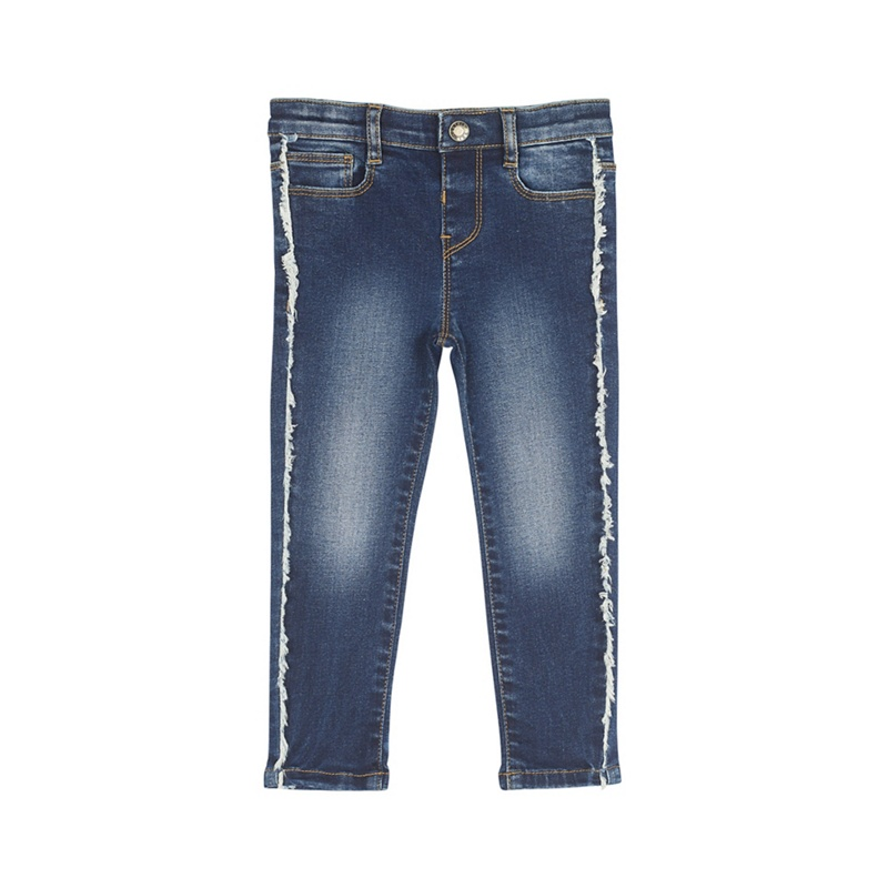 OUTFIT KIDS | Outfit Kids - Girls' Blue Fringe Embroidered Skinny Jeans | Goxip