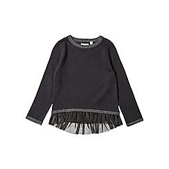 Outfit Kids - Girls' black frill hem knitted jumper