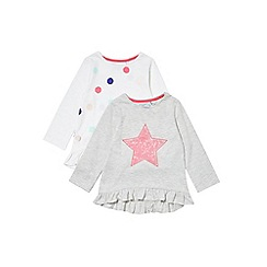 Outfit Kids - 2 pack girls' long sleeve star and spot t-shirts